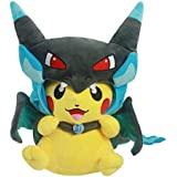 Mega Charizard X Plush Toy Pokemon Pikazard Pikachu Open Mouth Cloak Blue Stuffed Animal Soft Figure Doll 8""