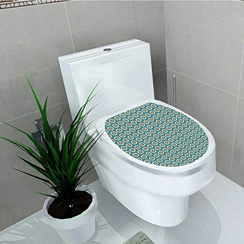 - Analisa A. Houk Toilet Seat Sticker Ten Romance Ritual Blooms Fragrance Essence Themed Bouquet Design Teal Cream Apricot Waterproof Decorative Toilet Cover Stickers W15 x L17