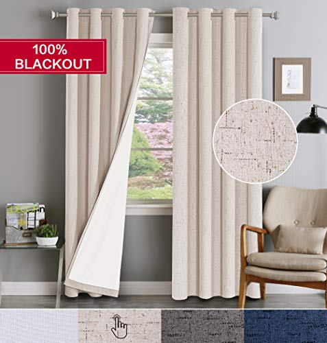 Curtain Black Natural - Full Light Blocking Window Treatment Curtains Grommet Top Linen Textured Primitive Blackout Panels Pair Thermal Insulated Curtains with White Backing, Each 52 by 84 Inch, Natural