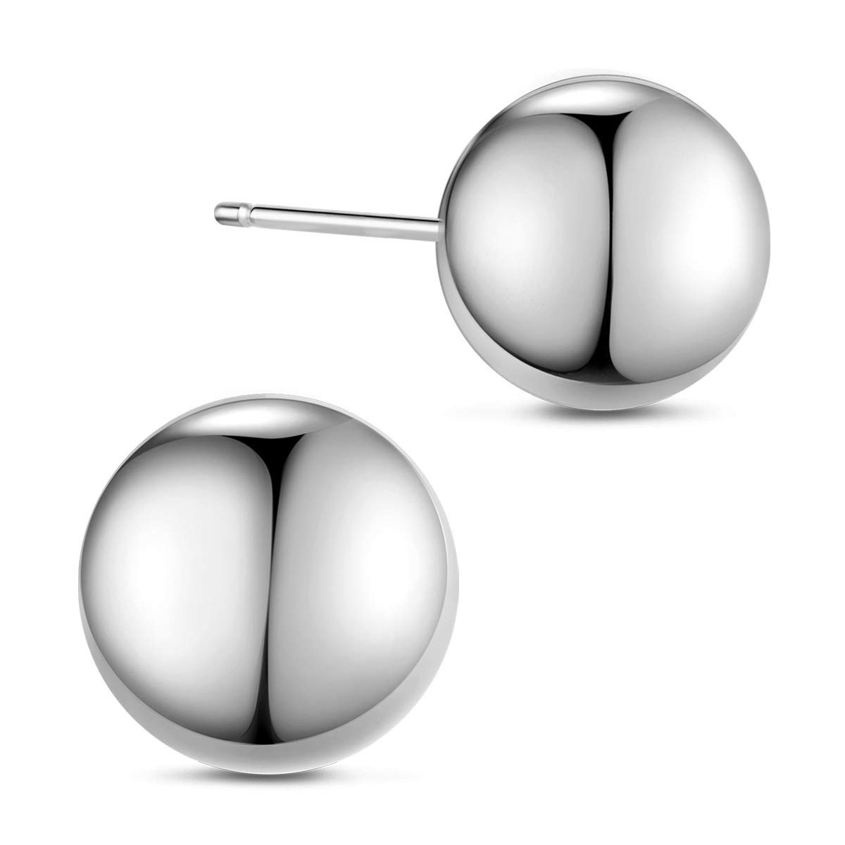 SHEGRACE Round Ball Stud Earrings 925 Sterling Silver Platinum Plated Earring for Woman//Girls 3mm,5mm,8mm,10mm