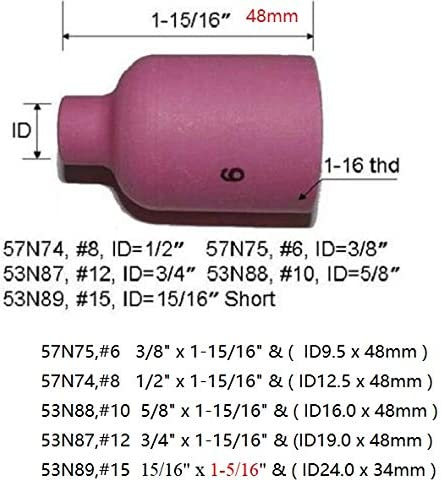 TIG Collet Assorted Size Kit 10N21 For QQ300 PTA DB SR WP 17 18 26 TIG Welding Torch 10pk 10N23 0.020 /& 0.5mm 0.040 /& 1.0mm 3//32 /& 2.4mm Orifice 1//16 /& 1.6mm 10N22 10N24