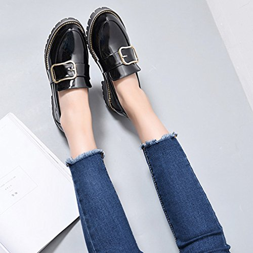 Buckle Womens Loafers Classic Penny Low Black Flat Comfort Dress Loafer On Oxford Shoes Casual GIY Slip cYdqtwqA