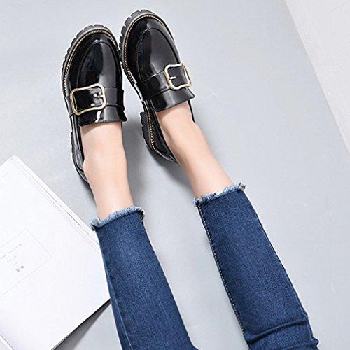 Dames Klassieke Penny Loafers Instapper Toevallige Lage Platte Comfort Jurk Loafer Oxford Schoenen Zwart