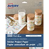 "Avery Sticker Project Paper for Inkjet Printers, 8.5"" x 11"" Full Sheet, Clear, 7 Sheets (4397)"