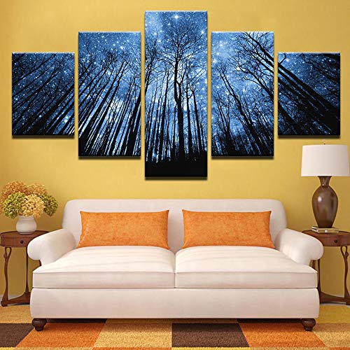 minorista de fitness GUDOJK Canvas He Decor Wall Art Pictures Pictures Pictures Framework 5 Piezas Bule Forest with Starry Sky Paintings Impresiones en HD Modular Landscape Posters 20x35 20x45 20x55cm  Mejor precio