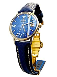 Vintage 1964 Omega Seamaster De Ville Watch (Blue Dial) with Sea Blue Carbon Fiber Styled Leather Band