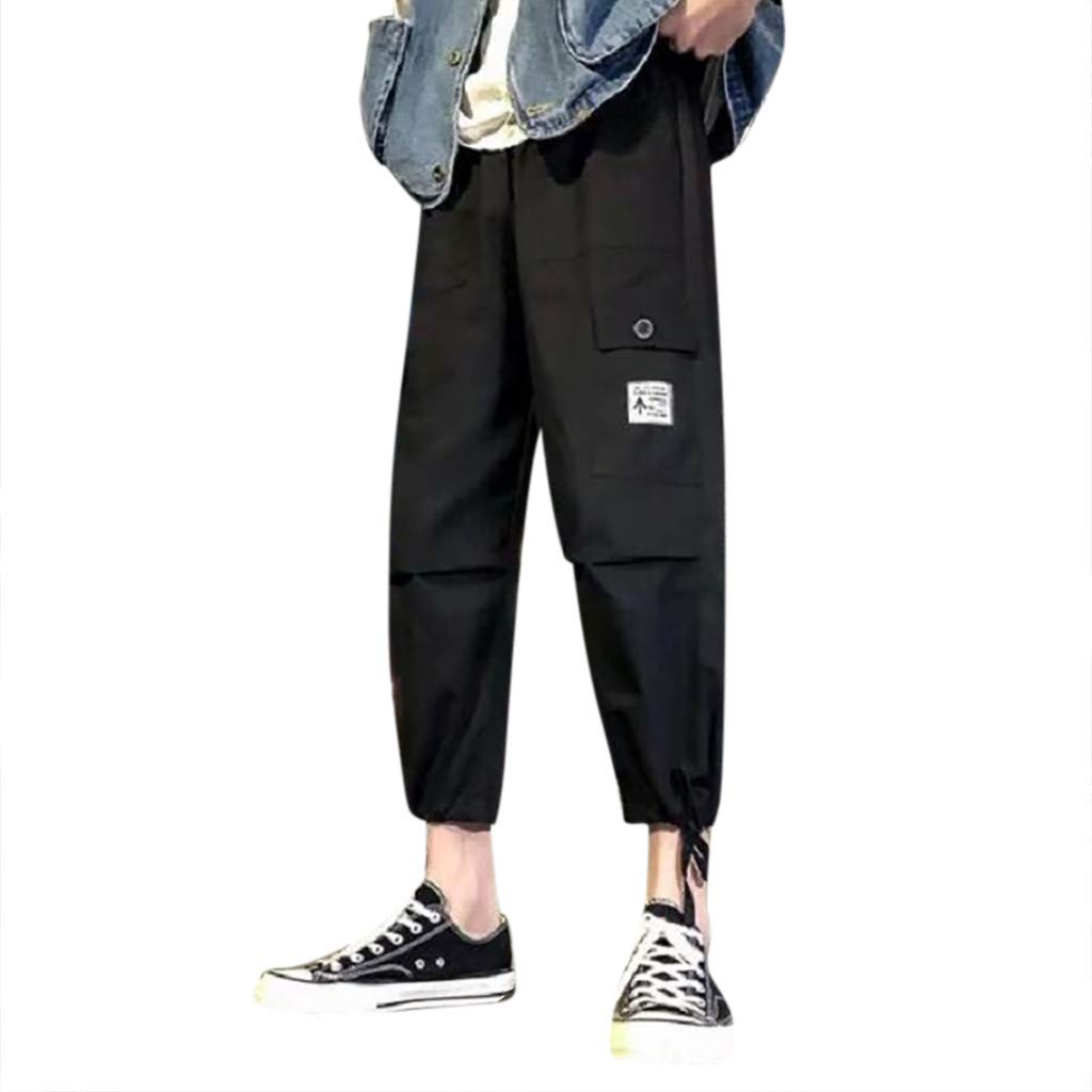 Fuumiol Men's Hiphop Punk Jogger Sport Harem Pants Big Pocket Buckle Harem Pants Slim Fit Track Pants Tapered Cargo Pants