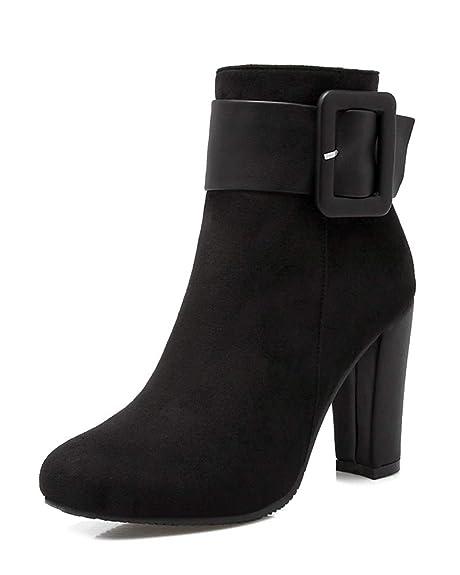 Minetom Botas De Mujer Zapatos Botines Tacón Alto Moda Otoño Invierno Casual Tacón Ancho Hebilla Botas De Chelsea Ankle Boots: Amazon.es: Zapatos y ...