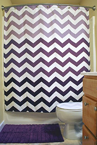 Oceanique Purple & White Chevron Shower Curtain