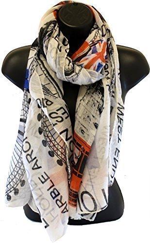 ecd3daf630b Maxi Echarpe Blanche Union Jack Rues Mode De Londres  Amazon.fr  Jardin