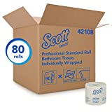 Kimberly-Clark Professional 42108 Scott 2-Ply Standard Roll Bath Tissue, White (Case of 80 Rolls, 550 Sheets Per Roll)
