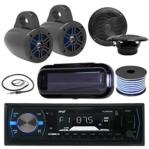 Pyle Bluetooth MP3 USB AUX SD in-Dash Single DIN AM/FM Headunit Marine Receiver, 4