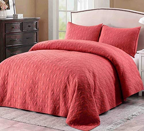 Prewashed Cotton Batting Ultra Soft Quilt Coverlet Bedspread Set with Shams-Full/Queen Size Warm Bed Linen Cover-Reversible Breathable 3 Pieces Bedding Set-Chestnut Rose