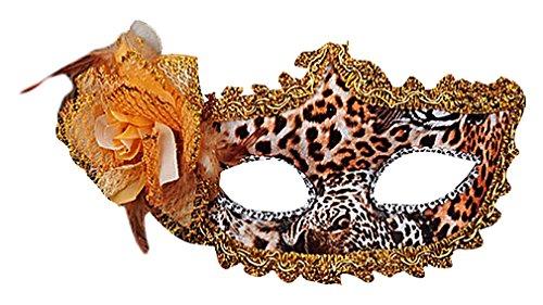 Maze Women's Colorful Sensual PVC Lace Floral Applique Venetian Eye Masks, Leopard One Size (Leopard Masks)