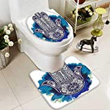 SOCOMIMI 2 Piece Toilet mat Set Decor Hamsa Hand Fatima Good Luck Symbol Oriental Ornament Meditation Pink Blue 2 Piece Shower Mat Set