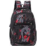 Anxinke Unisex Students Camouflage Schoolbag Sports Packsack Oxford Hiking Backpack Bag (Red)