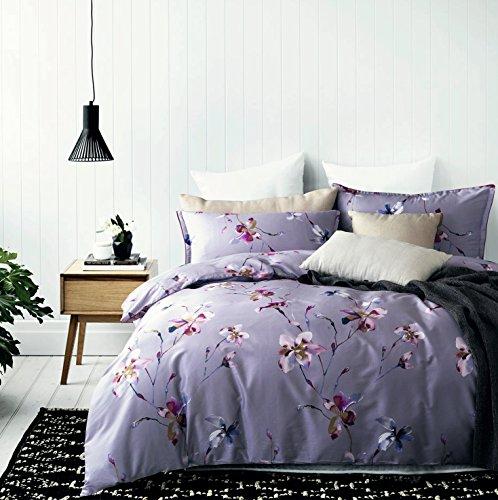 Modern Watercolor Flowers Print Duvet Quilt Cover 3pc Set Lilac (Floral Watercolor Quilt)