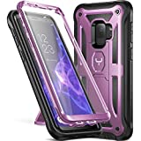 Galaxy S9 Case, YOUMAKER Heavy Duty Protection Kickstand with Built-in Screen Protector Shockproof Case Cover for Samsung Galaxy S9 5.8 inch (2018 Release) - Metallic Purple