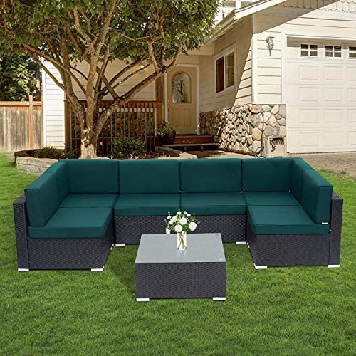 Kinsuite 7pcs Patio Outdoor Furniture Sets PE Rattan Sectional Sofa