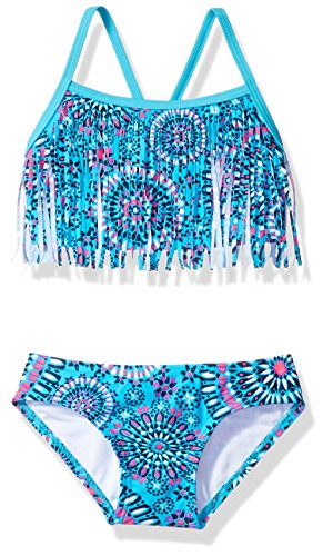 Kanu Surf Big Girls' Melanie Fringe Bikini Swimsuit, Aqua, 7