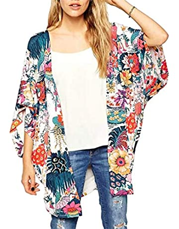 03537508d70c GSVIBK Womens Floral Cardigans Loose Floral Print Cardigan Lace Sheer  Chiffon Kimono Casual Cover Up Tops
