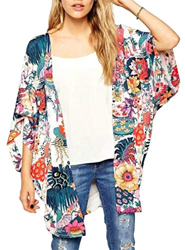 GSVIBK Womens Floral Print Kimono Loose Lace Chiffon Cardigan 3/4 Puff Sleeve Lace Patchwork Cardigans 217 Floral L
