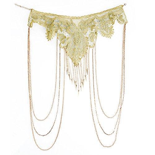 DOTASI Gold Flower Lace Fine Chain Body Chain Bikini