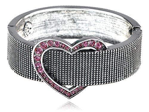 - Alilang Womens Dark Silvery Tone Pink Rhinestones Heart Belt Buckle Chunky Bracelet