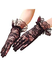 Vintage Floral Lace Gloves UV Protection Wrist Length Prom Party Driving Wedding