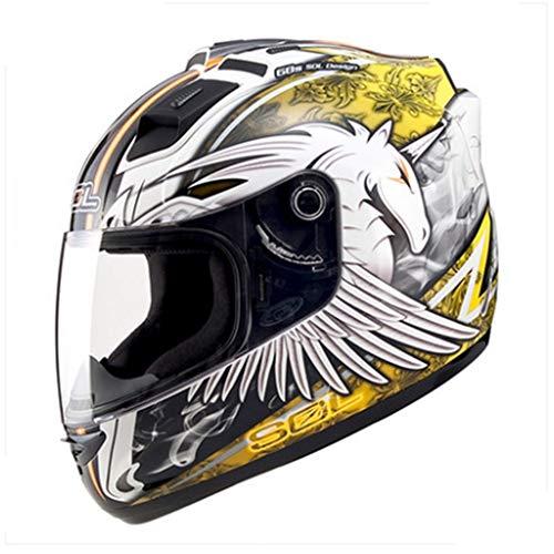 MCJL Motorcycle Helmet Full face Helmet Men and Women Four Seasons Racing Helmet Running Helmet LED Lights Motorcycle Helmet,1,XXL