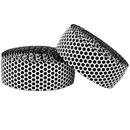 Vinqliq Superior Grip Breathable Hexagon Anti-Slip Silicone Bike Handlebar Tape Wraps Adhesive Back with Bar Plugs (White)