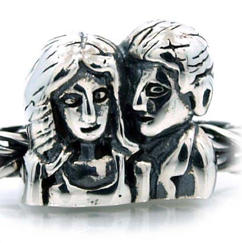 """Pro Jewelry .925 Sterling Silver """"Husband & Wife Boyfriend & Girlfriend"""" Charm Bead for Snake Chain Charm Bracelets"""