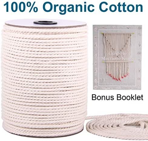 HAPYLY Pack of 5 Macrame Cord Natual Macrame Cotton Cord DIY Craft Cord Spool Twine Rustic String Cotton Rope for Wall Hanging,Plant Hangers,Crafts,Knitting,Decorative Projects 2 mm x100yd A