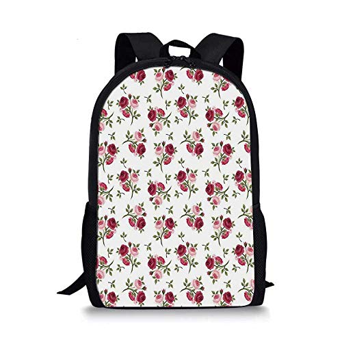(Roses Decorations Stylish School Bag,Pattern with Rose Stems Flowers Garden Classic English Style Design Repeat Art Decorative for Boys,11''L x 5''W x 17''H)