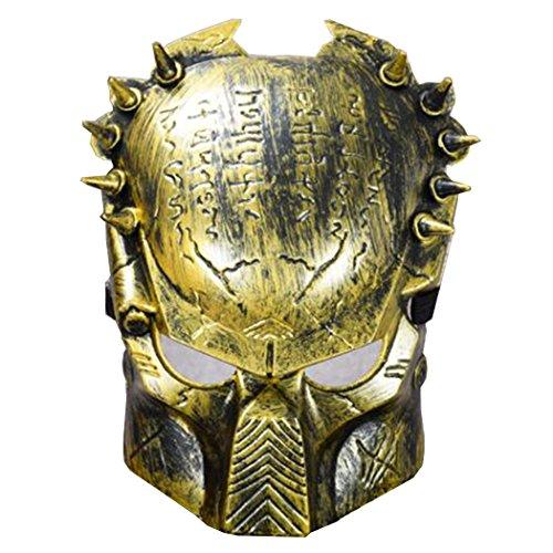 Predators Masks (Predator Aliens vs Predator Mask Wolf Predator Face Halloween Horror Mask Golden)