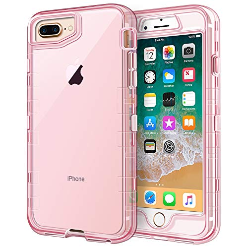 (iPhone 8 Plus Case, iPhone 7 Plus Case, Anuck Crystal Clear 3 in 1 Heavy Duty Defender Shockproof Full-Body Protective Case Hard PC Shell & Soft TPU Bumper Cover for iPhone 7 Plus/8 Plus - Clear Pink)