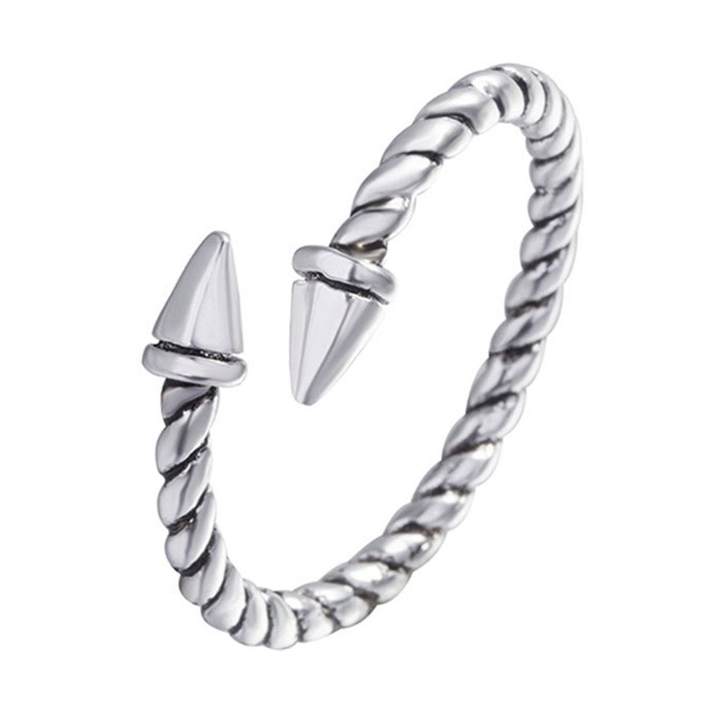 HYLJ Sterling Silver Plated Vintage Double bullet Arrow Screw thread adjustable Band ring,size 5-9