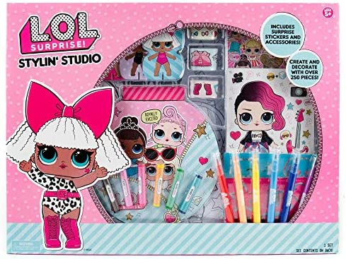 L.O.L. Surprise! Stylin' Studio via Horizon Group USA,Decorate LOL Surprise Paper Dolls With 250+ Accessories,Includes DIY Activity Book, Scratch Art,Sticker Sheet,Coloring Pages,Markers,Crayons & More