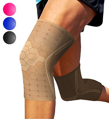 - Sparthos Knee Compression Sleeves by (Pair) - Support for Sports, Running, Joint, Knee Pain Relief - Knee Brace for Men and Women - Knee Sprains Strains Arthritis Ligament Injury Recovery (Beige-M)