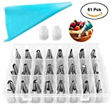 baking and pastry tools - Cake Decorating Kit PERTTY 51 Pcs Cake Decorating Supplies with 48 Icing Tips, 1 Silicone Pastry Bags, 2 Reusable Plastic Couplers Baking Tools for Cake Decorating