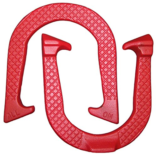 All-On Professional Pitching Horseshoes- Made in The USA (Red- Single Pair (2 Shoes))