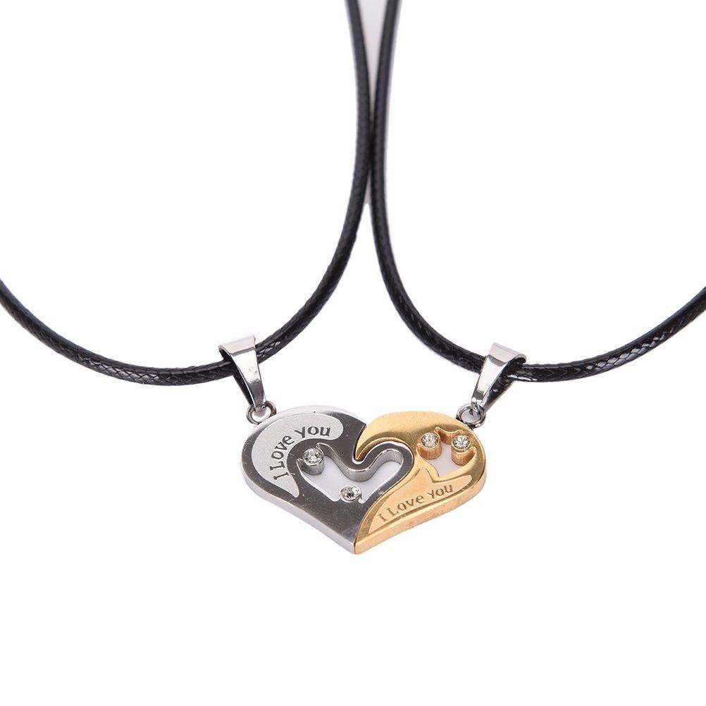 Edelstahl Partnerketten Love Freundschaft Herzkette Herz Anhänger Zirkonia Liebe