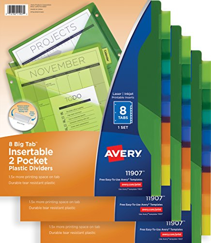 Avery Big Tab Insertable Two-Pocket Plastic Dividers, 8-Tab Set, Multicolor, Multi Pack of 3 Sets (11907) (Plastic Tab Tear)