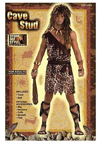 Cave Man Outfit (Men's Stone Age Style Cave Stud Costume, Animal Print, One)