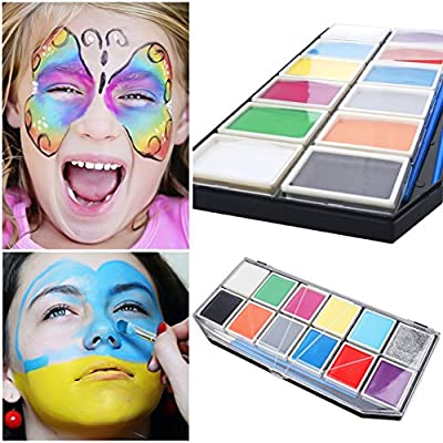 Face Painting Set ,12 Colors Face Body Paint Kit 2 Brushes 2 Face Tattos 3 Face Paint Stencils