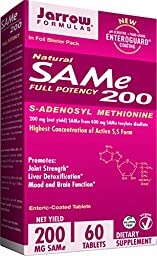 Jarrow Formulas SAM-e, Promotes Joint Strength, Mood and Brain Function, 200 mg, 60 Enteric-Coated tabs