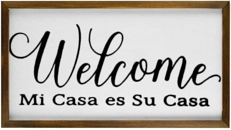 BYRON HOYLE Mi Casa ES Su Casa Framed Wood Sign, Welcome in Spanish Wooden Wall Hanging Art, Inspirational Farmhouse Wall Plaque, Rustic Home Decor for Nursery, Porch, Gallery Wall, Housewarming Gift