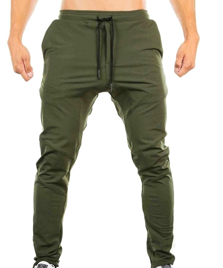 Gocgt Men Pants Regular Fit Sports Running Pocket Drawstring Elastic Waist Trousers