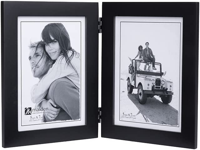2-3.5x5 Espresso Split Double Malden International Designs Linear Classic Wood Picture Frame