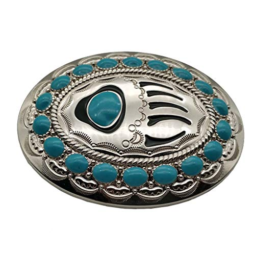 Turquoise Silver Belt Buckle Inlaid Indian Bear Paw Pattern